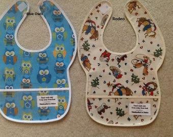 Handmade Baby Bibs, Vinyl, Baby Girl, Baby Boy, Toddler Bib