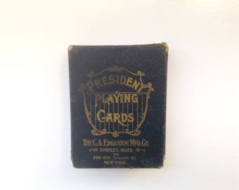 Rare Antique - President Playing Cards by The C. A. Edgarton Mfg Co. -  Makers of President Suspenders - Advertising Playing Cards - c 1905