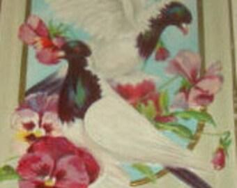 Pretty Vintage Embossed Bird Postcard, Doves