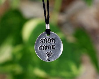 Soon Come handmade pendant necklace with palm tree stamp