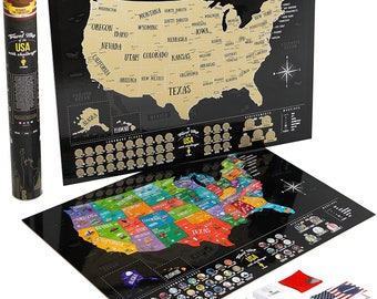 Large Deluxe Scratch map of USA! Scratch Map, Tracker map, Scratch Off USA Map, Scratch Map, Scratch off us map, World Map, Wall Poster