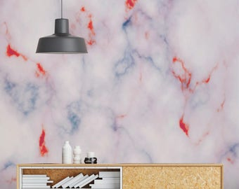 Retro Colors, Marble Wallpaper, Modern Wall Mural, Pink, Lilac Neon Home and Office Interior Design #RONDA