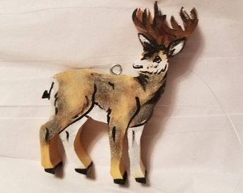 wooden mule deer ornament