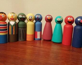 Sesame Street Inspired Wooden Peg Dolls