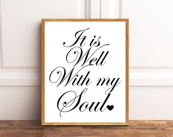 It is well with my soul, Christian wall print, Music Print, Hym print