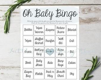 Baby Shower Bingo // Baby Boy Bingo // Blue // Watercolor // Instant Download // Printable