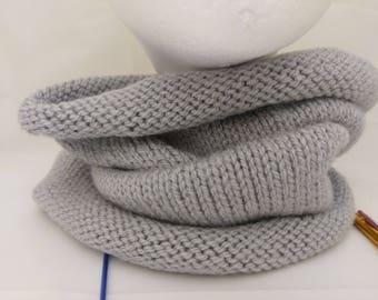 Cosy handknit grey cowl infinity scarf neckwarmer snood