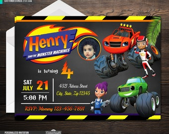 Blaze And The Monster Machines - Blaze Invitations - Blaze Birthday Invitation - Blaze Birthday - Monster Machines Birthday Invitations