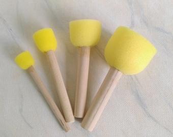 Set of four sponge brushes, foam pouncers, foam brushes, stencil brushes