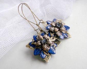 Blue Flower Dangle Flower Earrings Cobalt Blue Flower JewelryMagicBox Flower and Painted Flower Victorian Flower Art Nouveau Flower For Her