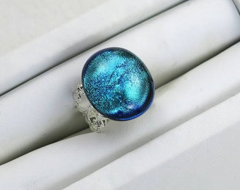 Mystical Sea Dichroic Fused Glass Filigree Ring   Inspired By Disney's Old Key West Resort (Item #363)