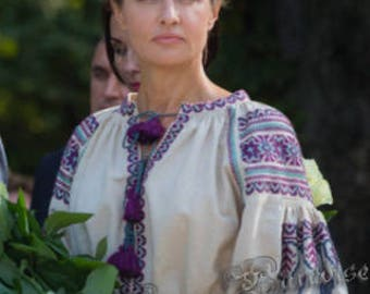 Linen Top Ukrainian Embroidery Vyshyvanka Boho Ukrainian Blouse Ivory Linen Boho Vishivanka Bohemian Style Fashion Ukrainian Chic Nationale