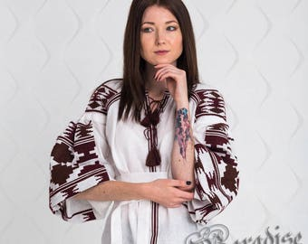 SALE -20%! 2 US! Ready to ship! Bohemian Linen Vyshyvanka Blouse Embroidered Top Ukraine Clothing Ethnic Embroidery White Shirt Mexican Top