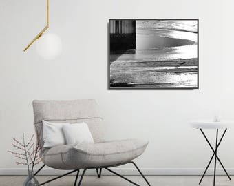 Black And White Photo Poster, Large Geometric Poster, Modern Landscape Black And White Art Print, Industrial, Abstract Living Room Art Print