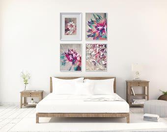 Botanical Printable Set, 4 Floral Art Prints Set, Large Floral Wall Decor, Valentine Art Gift For Her, Flower Printables Set, XL Wall Decor