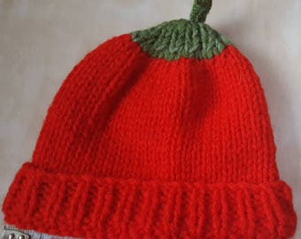 Baby/Toddler fruit style hat, Green top & stalk, Hand-knitted, Red Italian yarn, Handmade, Designed, Gift, Fun, Cute, Unique, Child's hat.