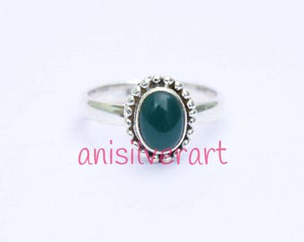 Green Onyx Ring, Green Ring, Gift for Her, Green Stone Ring, Onyx Jewelry, Sterling Silver Ring, Boho Ring, Gypsy Ring