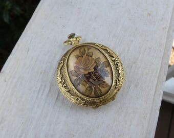 Max Factor Pocket Watch Compact with Roses