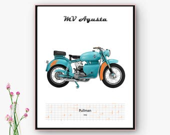 Poster downloadable bike MV Agusta Pullman. Decoration House, living room, bedroom, spaces. Classic motorcycle. Christmas, Online poster.