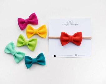 Boho Brights | Baby headband set, Baby bow Headband, Small Bows, Baby Bows, Newborn headbands, Nylon Headbands,Baby hair bows, felt bows
