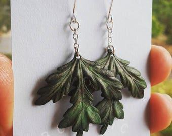 Verdigris Fern Leaf Earrings