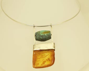 Amber pendant silver necklace, Amber and turquoise silver pendant necklace, Turquoise and amber silver necklace, Amber pendant necklace