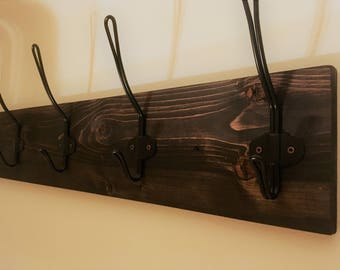 Rustic Wood Coat Rack with Metal Hooks - 30 and 36 Inches