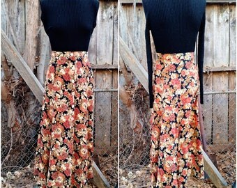 Vintage Maxi Fall Floral Colored Hippie Skirt Flower Skirt Long Boho Grunge 90s 180s 1970s  Button Front Size Small