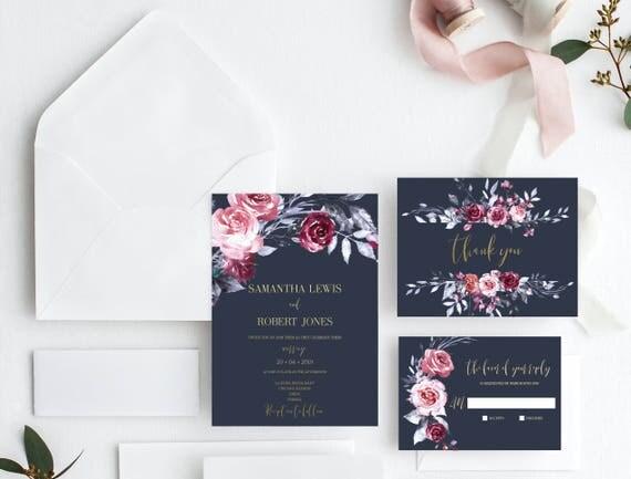 Printable wedding invitation template navy blue invitation suite il570xn stopboris Choice Image