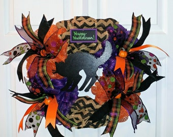 Ready to Ship! Black Cat Halloween Wreath! Happy Halloween Burlap and Deco Mesh wreath with mini pumpkins and ribbon