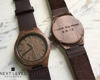 Engraved Wood Watch, Personalized Gift for Boyfriend, Wood Watches for Men, Mens Wooden Watch, Mens Watch, Mens Wrist Watch, Wooden Watch