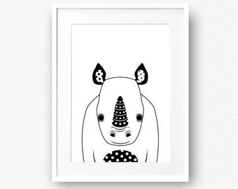 Rhino print, Zoo animal printable, Black and white animal kids decor, Safari animal nursery wall decor, INSTANT DOWNLOAD, Baby wall art