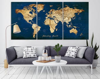 Attrayant World Map Wall Art Canvas Print, World Map Print Art, Large Wall Art World