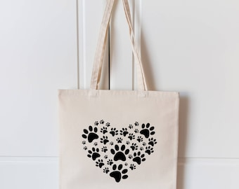 Paw Heart Tote Bag | Paws Dog Bag | Canvas Tote Bag | Dog Bag | Dog Lover Gift | Vegan Bag | Dog Shopping Bag | Tote Bag |