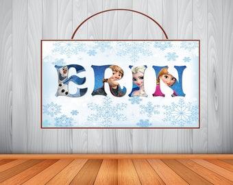 Personalized Disney Frozen Name Art Sign, Disney Frozen Personalized Wooden Name Sign, Disney Frozen Room Decor, Disney Frozen Birthday
