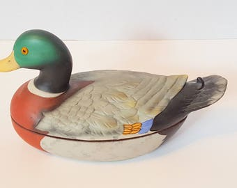Vintage Mallard Duck Trinket Box