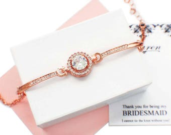 Bridesmaid bracelet, Rose Gold, bridesmaid gift, bridal party jewelry, personalized bridesmaid gift, wedding bracelet, wedding jewelry
