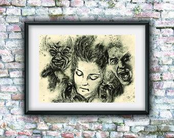 Twin peaks poster, watercolor, David Lynch, Laura Palmer, aquarelle art, Twin peaks serie, home decor, Agent Cooper, digital art, cult movie
