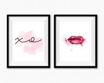 Lips Wall Art, Minimalist Poster, Bathroom Vanity, Fashion Wall Art, Vanity Mirror, Dressing Table, Makeup Organizer, Kiss Print, Xo Print