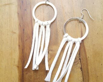 Deerskin Fringe Hoop Earrings, White, Genuine Leather, Soft Leather, Antique Silver Hoops, Rustic Fringe Boho Statement Style