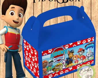 Paw Patrol Inspired Favor Box,  Paw Patrol Inspired Treat Box, Paw Patrol Party Boxes - Set of 12