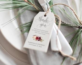 Wedding Favor Tags Printable, Bridal Shower Favors, Wedding Favor Tags Printable, Thank You Tags, Marsala Wedding Favor, Greenery thank you
