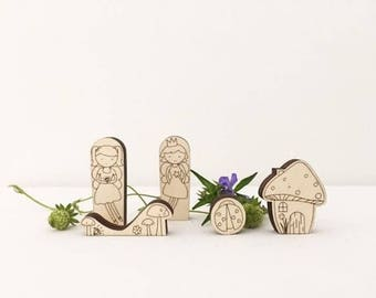 Fairy folk wooden puzzle tin toy, wooden pocket toys, kids decor, Scandinavian style wooden puzzle in a tin