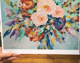 Floral Acrylic Painting Print
