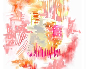 """Abstract Painting GICLÉE Art Print 8x12"""", 10x12"""", 11x14"""" - This Moment - pink, white, orange, yellow, colorful, bright, cheerful"""