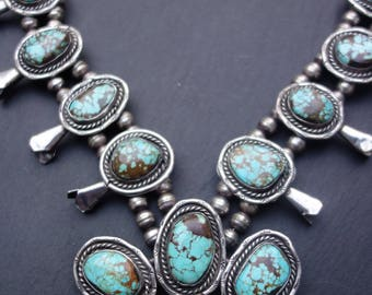 Squash blossom necklace. Royston turquoise with spider web matrix. Stunning! 170 grams. Navajo.