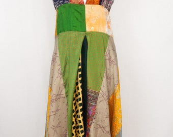 Vintage Silk Ganga Patch Dress, Large