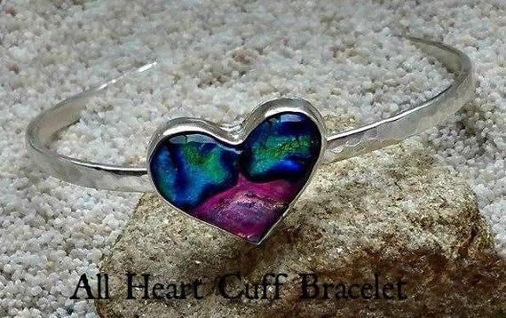Memorial Blown Glass Heart Cuff Bracelet in Sterling Silver
