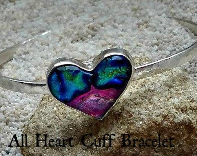 Memorial Blown Glass Heart Cuff Bracelet in Sterling Silver