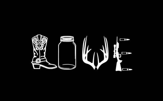 Hunting Country LOVE decal boots, deer, antlers, rifle, mason jar. choose size 6,7,8,9,10 inch country